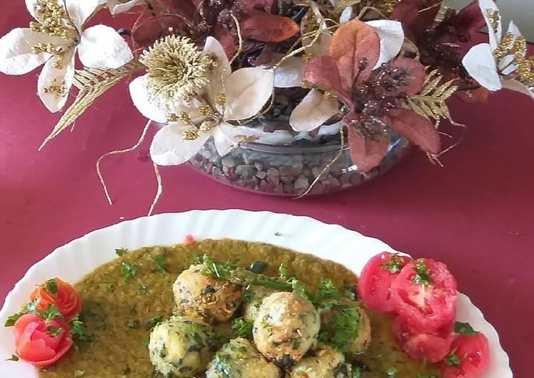 Paneer spinach kofta soft creamy green gravy
