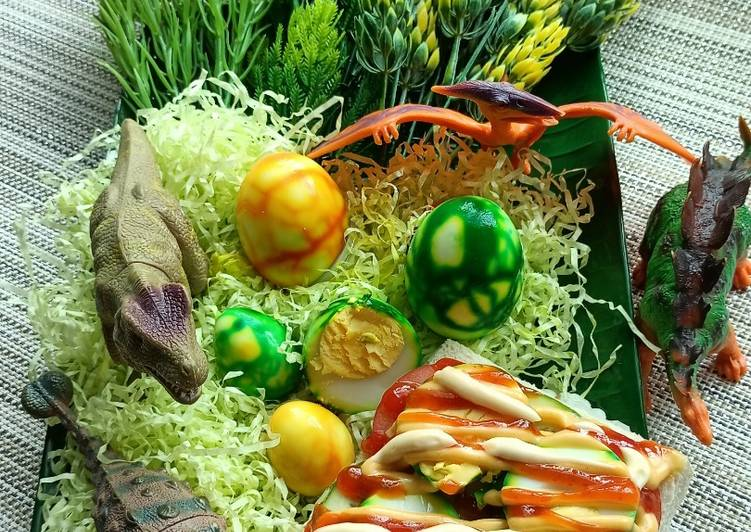 Resepi:  Matcha Egg Dinosaur Sandwich Simple