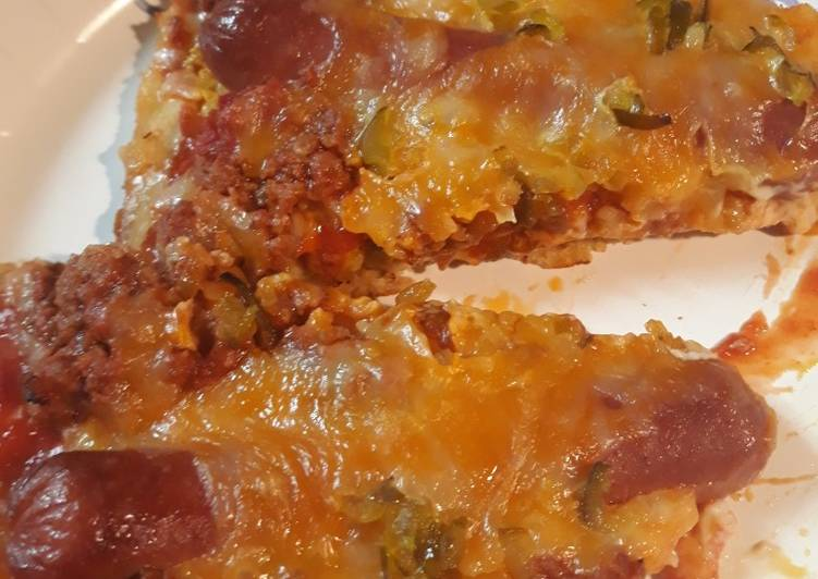 Recipe of Favorite Chili-CheeseDog Pizza