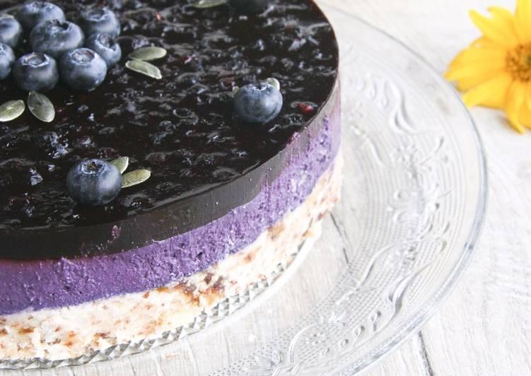 Façon la plus simple Cuisiner Délicieux Cheese-cake végétal aux myrtilles