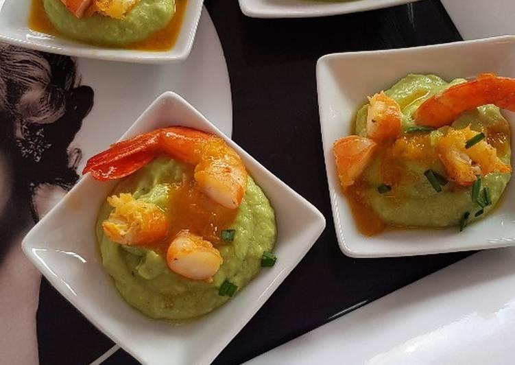 Guacamole et gambas à l'orange