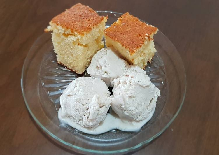 Fluffy Cake with bananas ice cream #mycookbook