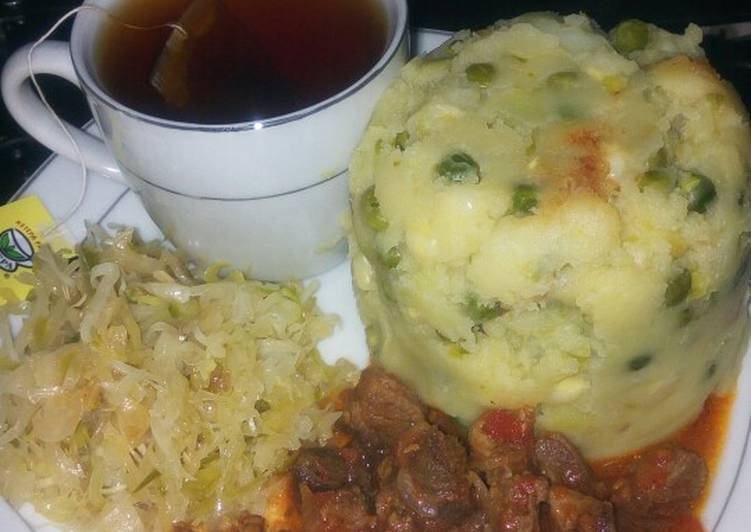 Simple peas mukimo with beef stew and black tea, Heart Friendly Foods You Should Eat