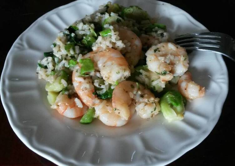 Quick recipe! Shrimp and brussels sprout risotto