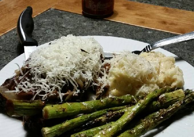 Brad's red wine NY steaks with grilled asparagus