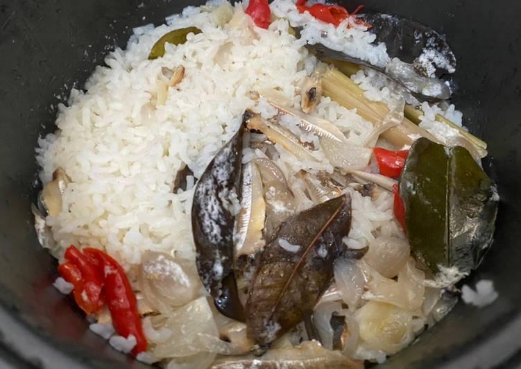 Nasi liwet teri (ricecooker)