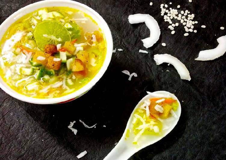 Tender Coconut milk Barley croutons soup
