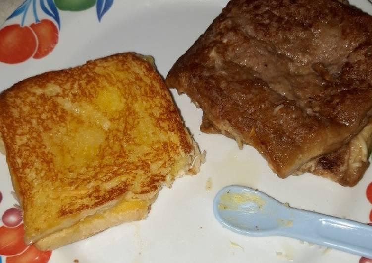 Roti bakar keju milo versi frenchtoast
