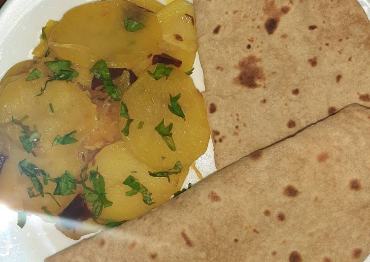 Quick potato veggie with chapati 😊(katli with roti) #mycookbook