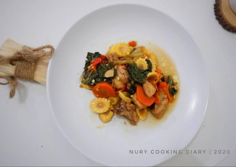 Tumis ayam, baby jagung (putren), wortel & sawi