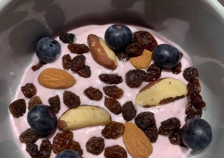 Steps to Make Super Quick Homemade Cherry yogurt breakfast