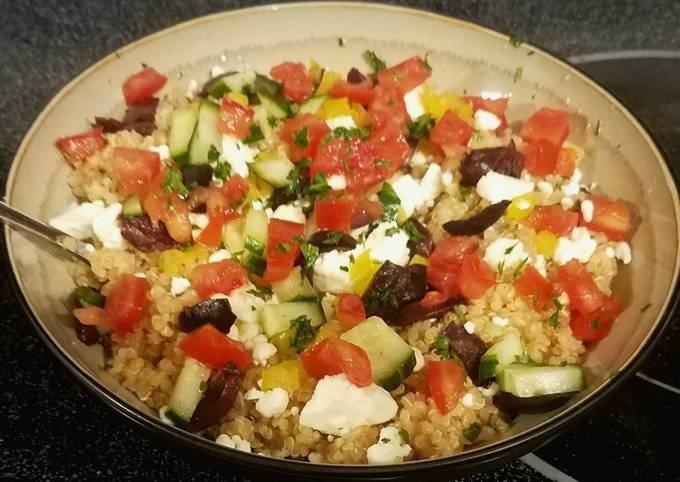 Greek style quinoa bowl