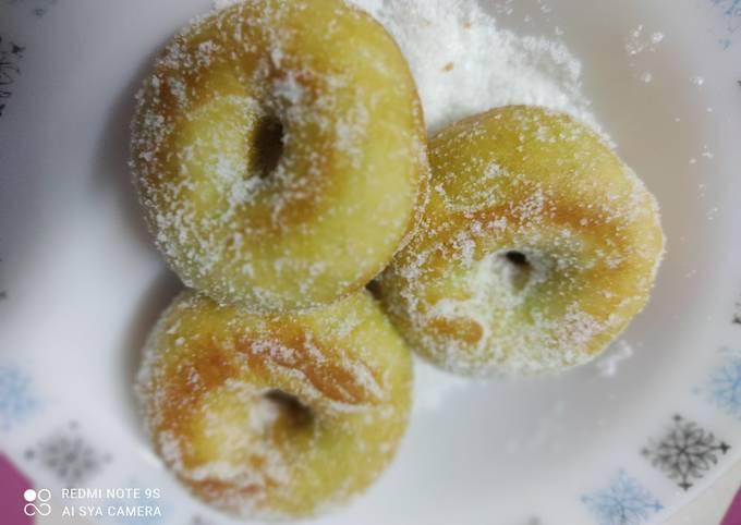 Donut pandan resepi simple (10 pcs)