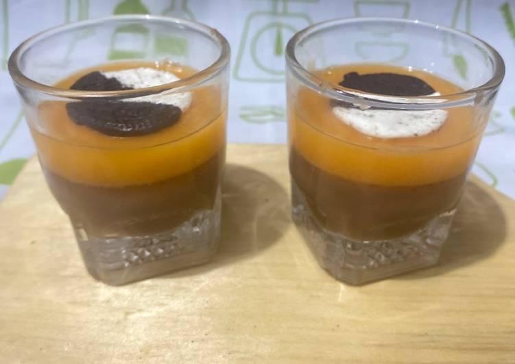 resep cara membuat Puding coklat mangga