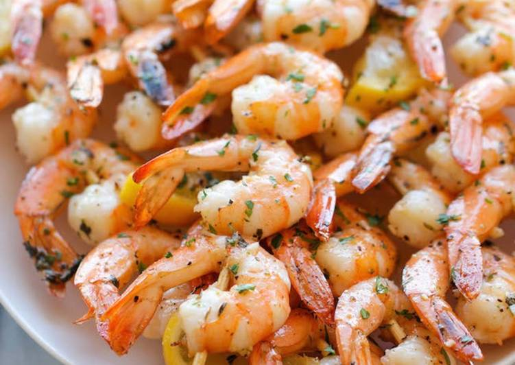 Recipe of Quick Lemon Garlic Grilled Shrimp Skewers