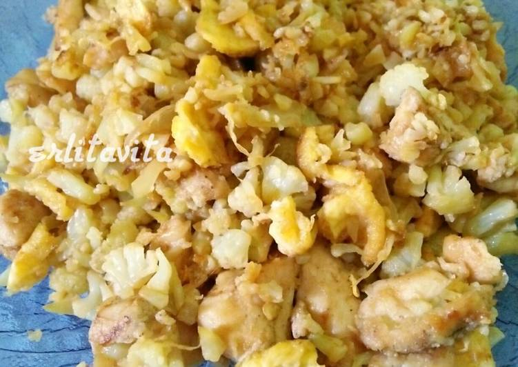 Nasi Goreng Diet Cauliflower fried rice (bunga kol)