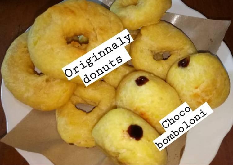 Originally donuts with choco bomboloni (menggunakan kentang)