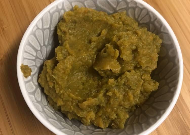Purée patate douce haricot vert