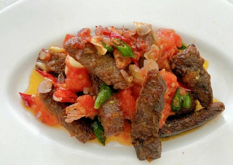 Tumis daging rumahan tanpa ribet tanpa ngulek #idemakansiang