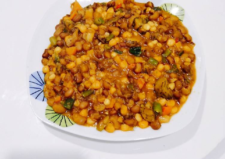 Beans corn and plantain
