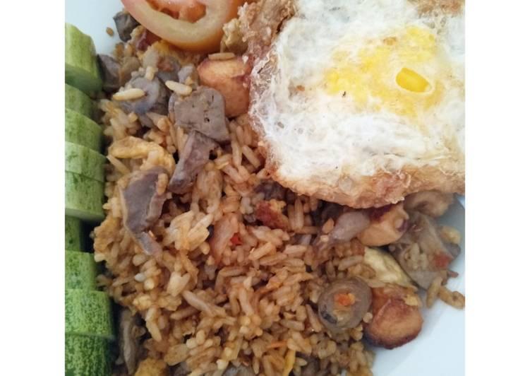 Nasi Goreng kampung sosis + ati ampela