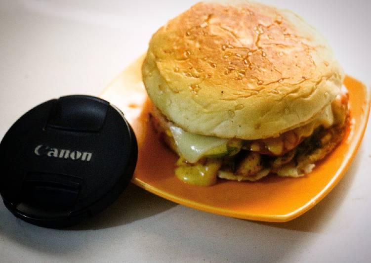 Recipe: Perfect Cheezy grill burgers with homemade orange sauce (tikka sauce)