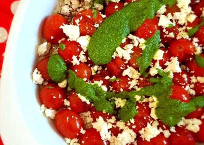 Blistered tomato, feta and basil & morogo pesto salad