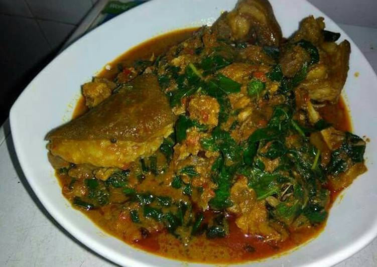 Homemade Banga with cocoyam soup and assorted meat