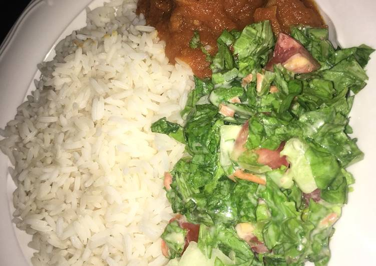 Easiest Way to Make Award-winning Rice with stew and salad