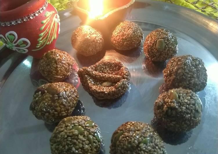 Sesame seeds pumpkin seeds and jaggery laddu