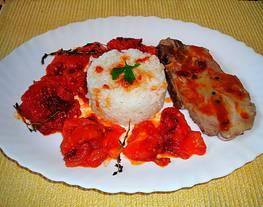 Chuleta de cerdo con mermelada de tomate  y arroz blanco