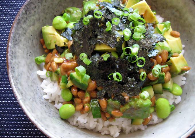 Spicy Natto & Avocado Rice Bowl