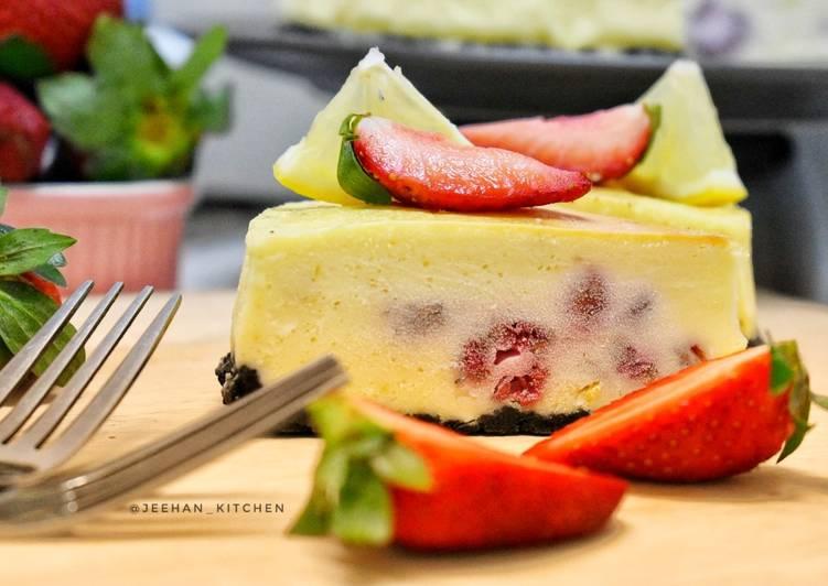 Kek Keju Raspberry Lemon Bakar
