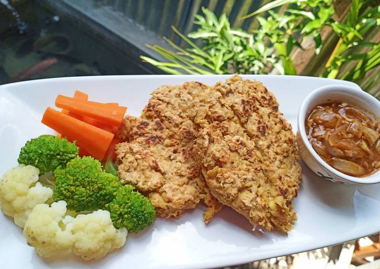 Tempe Steak, Mix Vegetable with Black Paper Sc #MenuDiet