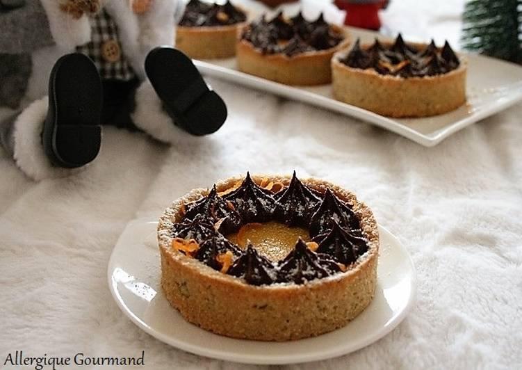 Tartelettes curd de clémentines - chocolat  sans gluten- sans lait-sans œufs