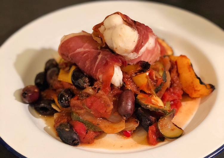 How to Make Ultimate Monkfish in Parma ham with kalamata olive ratatouille