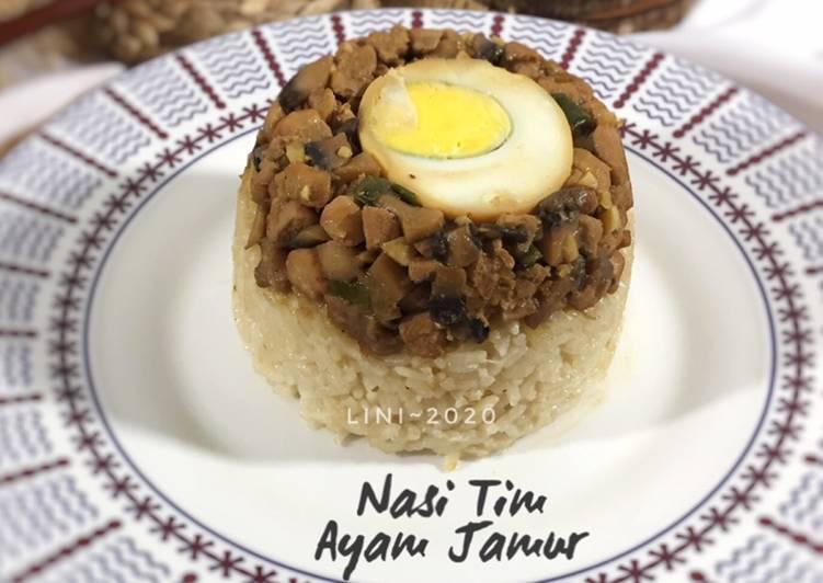 Nasi Tim Ayam Jamur - menu anak dan dewasa - resep masakan simple - menu bergizi - anti gagal