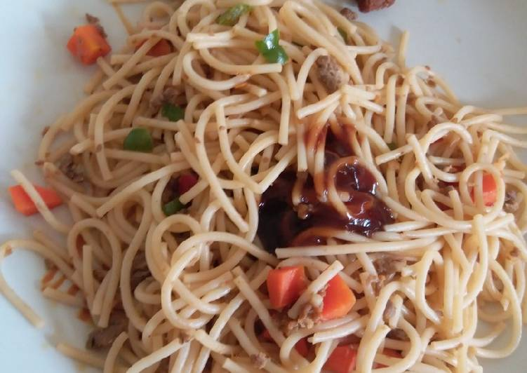 How to Cook Perfect Vegetable Spaghetti and bbq sauce