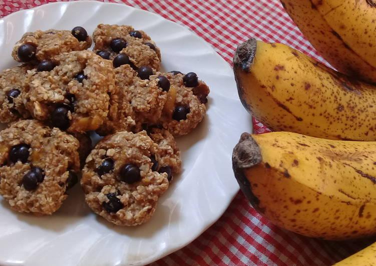Banana Oat Chocochips Cheewy Cookies (3bahansaja)