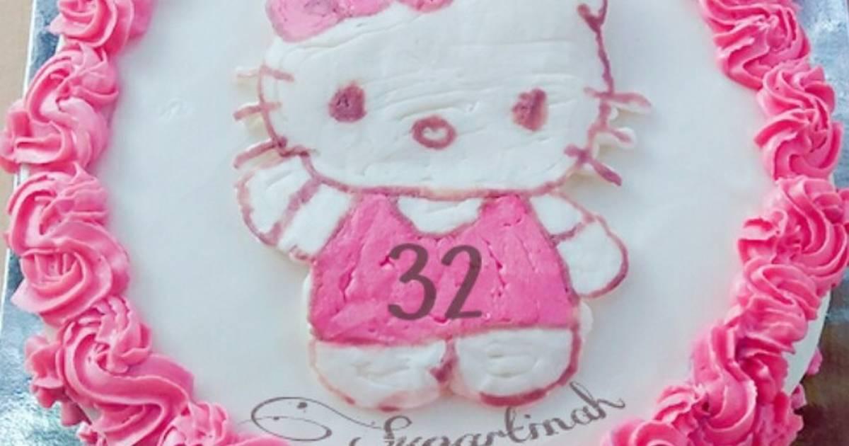Resep Kue Ulang Tahun Hello Kitty Tips Melicinkan Kue Butter Cream Oleh Nabila Amira Cookpad