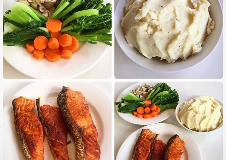 Step-by-Step Guide to Prepare Speedy Salmon with mash potato and vegetables