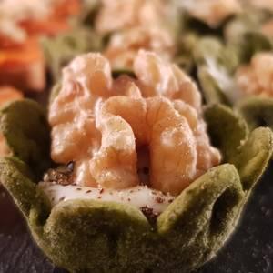Tartaleta de espinacas con queso roquefort y nuez