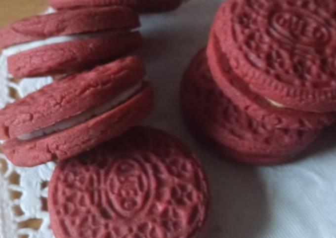 Langkah Mudah Membuat Oreo red velvet tanpa pasta red…