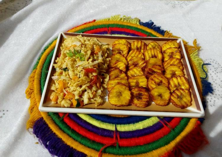 Fried plantain with scramble egg