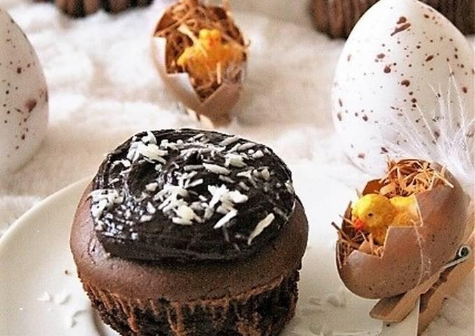 Muffins au chocolat et leur ganache  sans gluten, sans lait, sans œufs