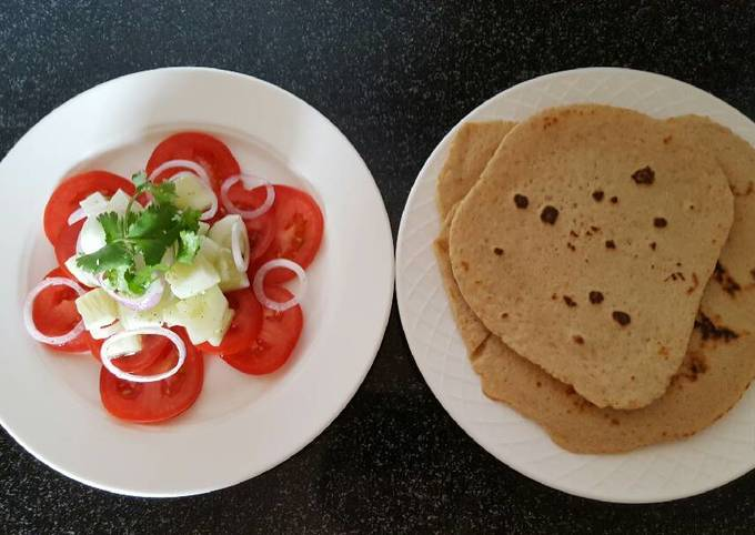 How to Make Perfect Simple salad with flat bread roti