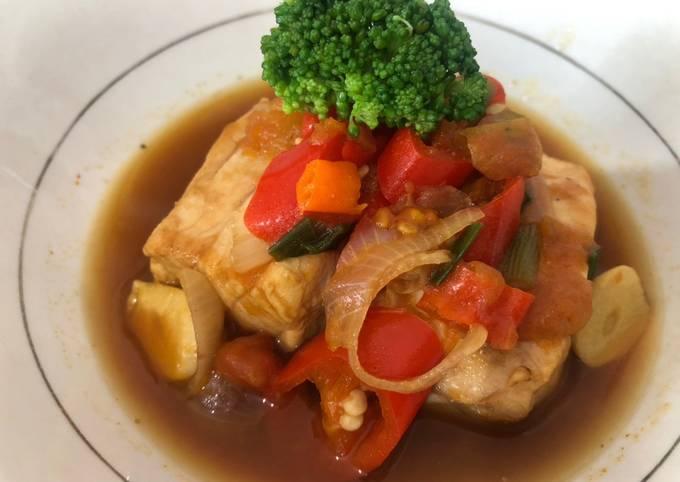 Ikan laut kuah sarden (menu diet sehat tanpa gula dan minyak)