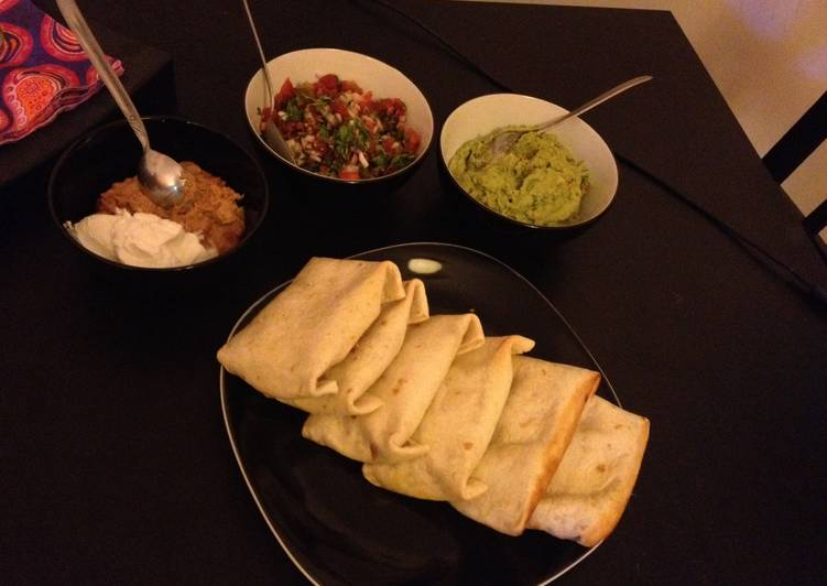 Beef Chimichangas with Pico De Gallo, Guacamole & Sour Cream