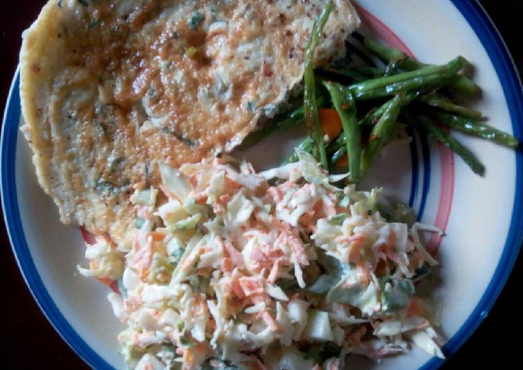 Recipe of Super Quick Homemade Coleslaw, omelette and veggies