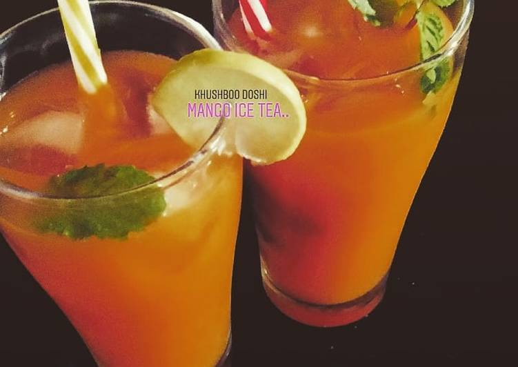 Homemade mango iced tea: